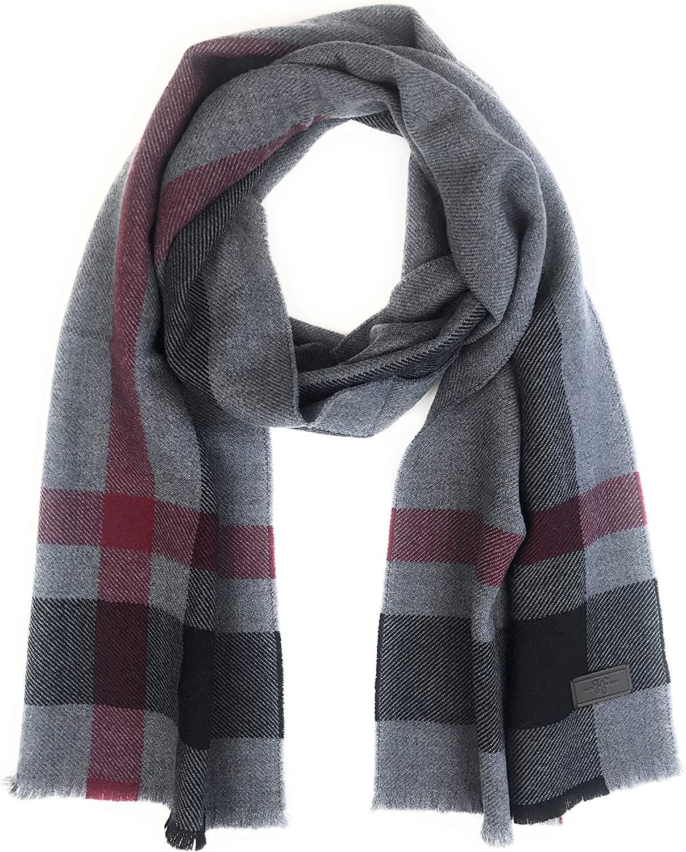 Hickey Freeman Men's Merino Wool Classic Charlotte Mall Patterned Scarf – 100