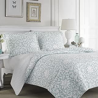 Laura Ashley Blue Reversible Floral Quilt Set, King, Mia