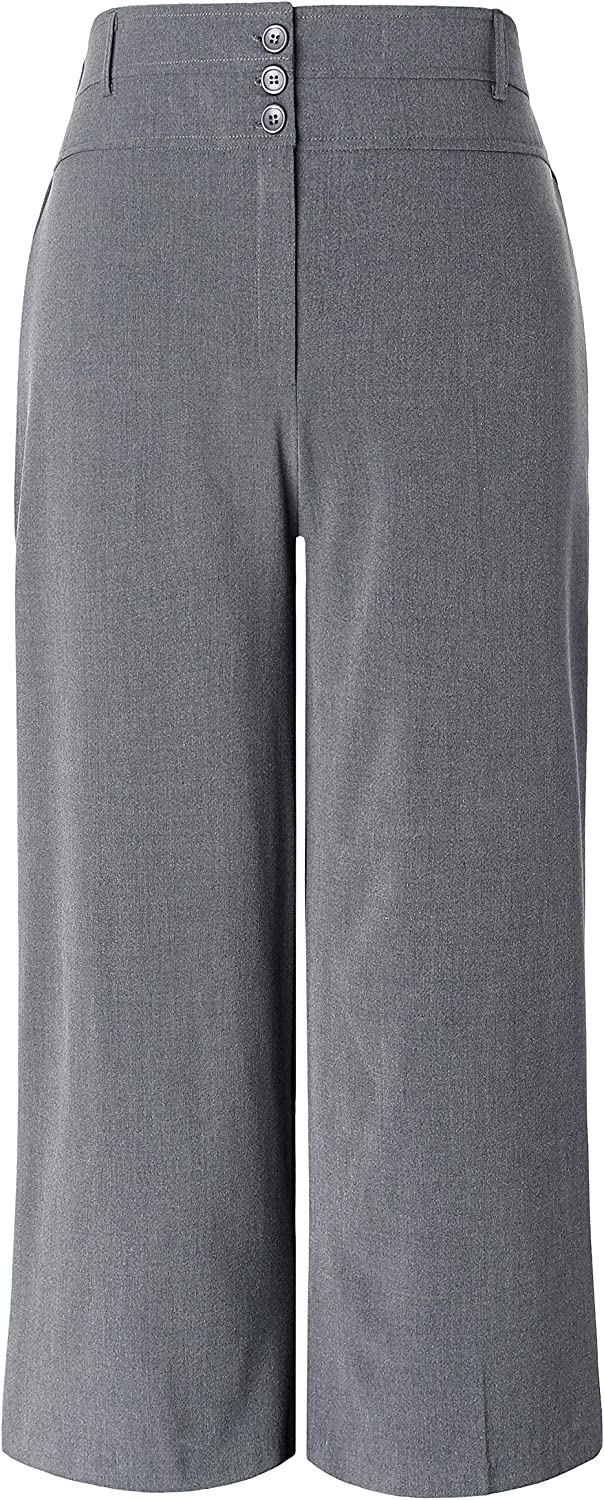 Chicwe Women's Plus Size Cropped Curvy Fit Wide Leg Pants with Wide Waistband - Casual and Work Pants Trousers