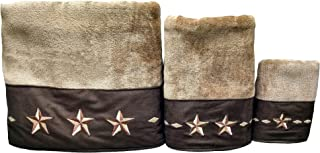 HiEnd Accents Embroidered Star Western Towel Set, Brown - TW2010