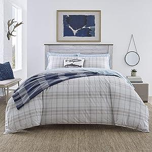 Eddie Bauer Home | Grays Harbor Collection | 100% Cotton Soft & Cozy Premium Quality Plaid Duvet Cover Matching Shams, 3-Piece Bedding Set, Machine Washable, King, Grey