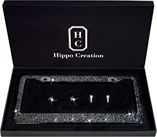 1 Pack Luxury Handcrafted Bling Black Rhinestone Premium Stainless Steel License Plate Frame with Gift Box | 1000+ pcs Finest 14 Facets SS20 Black Rhinestone Crystal | Anti-Theft Screw Cap