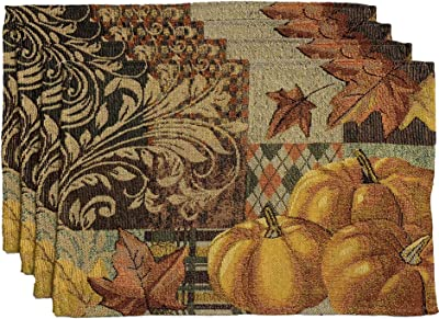 SET OF 4 COTTON TAPESTRY HARVEST PLACE MATS//APPLES//STRIPE BORDER//NWT