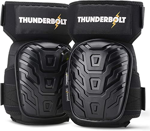 Knee Pads for Work by Thunderbolt for Construction, Flooring, Gardening, Cleaning with Gel Cushion and Anti-Slip Stra...