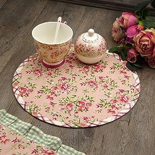 N.di S. Set de table rond double face, style shabby chic, motif floral, rose, diamètre 33 cm