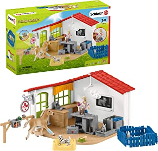 Schleich Farm World Vet Practice with Pets 27-piece Educational Playset for Kids Ages 3-8, Model: 42502
