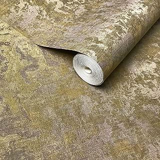 Wallpaper gold brass metallic Textured Plain Modern horizontal stria faux metal