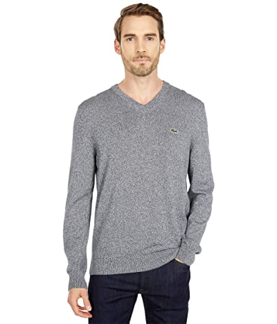 Lacoste Long Sleeve Solid V-Neck Sweater (Eclipse Jaspe) Men