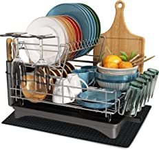 Dish Drying Rack, MICOCAH 2 Tier Large Dish Rack and Drainboard Set with Swivel Spout, Fully Customizable Dish Drainer for...