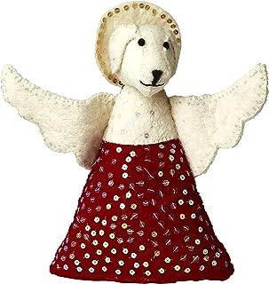ARCADIA HOME Handmade Felt - Dog Angel Tree Topper, Red