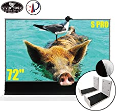 VIVIDSTORM S PRO Ultra Short Throw Laser Projector Screen,White Housing Motorized Floor Rising Screen 72 inch Ambient Light Rejecting Screen with a Set of White Wall Brackets VWSDSTUST72H