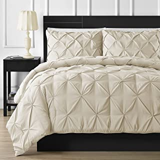 Comfy Bedding Double Needle Durable Stitching 3-Piece Pinch Pleat Comforter Set All Season Pintuck Style, King, Beige