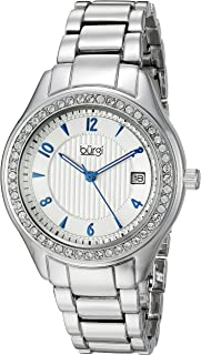 Burgi Women's Swarovski Crystal Watch - Accented Embossed Dial With Date Window On Stainless Steel Silver Bracelet - BUR135SS