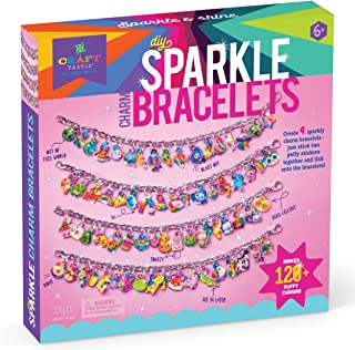 Craft-tastic – Sparkle Charm Bracelets – Craft Kit Makes 4 Customizable Bracelets with DIY Puffy Sticker Glitter Charms