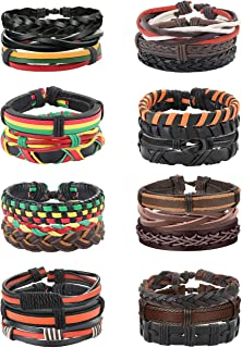 Jstyle Vintage Braided Leather Bracelet for Men Women Wooden Beaded Cuff Wrap Bracelet Adjustable B