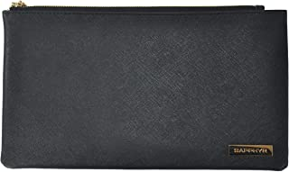 Saffiano Bank Bag by Sapphyr | for Cashiers, Checks and Currency | Luxury Real Leather Case with Pen Loop