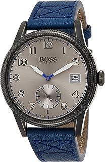 ساعة كوارتز للرجال مع شاشة عرض كرونوغراف وسوار من الجلد من هوغو بوس، طراز 1513684