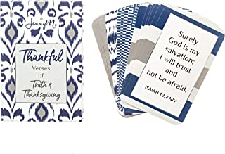 JennyM | Thankful Verses of Truth and Thanksgiving Bible Verses Inspirational Prayer Cards, Memory Verse of the Day Scripture Cards with Keepsake Box, Boxed Inspirational Blessing Cards