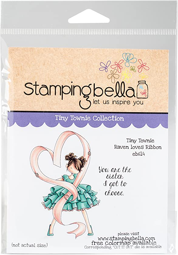 Stamping Bella Tiny Townie-Raven Loves Ribbon Cling Stamps