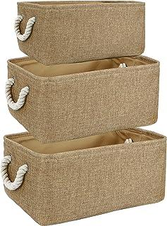 HomeStorie Cotton Eco-Friendly Foldable Storage Basket Bins Organizer (Brown) - Pack of 3