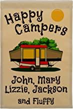 Happy Campers Pop-up Camper Personalized Campsite Flag, Customize Your Way (Red Pop-up)