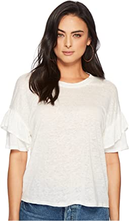 1.STATE Short Sleeve Ruffle Sleeve Knit T-Shirt
