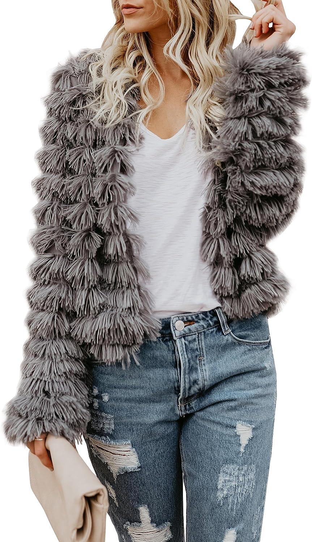 Ybenlow Womens Open Front Coats Long Sleeve Shaggy Faux Fur Jack