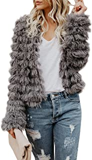 Womens Open Front Faux Fur Coat Vintage Parka Shaggy Jacket Cardigan