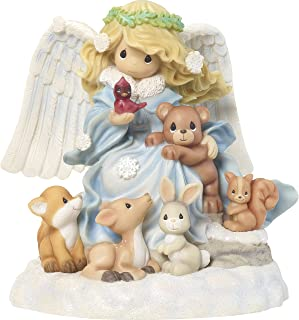 Precious Moments Joy to The World Angel with Woodland Creatures Musical Figurine, Multicolor