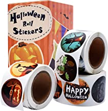 Cualfec Halloween Stickers Roll for Kids Halloween Trick or Treat Stickers Halloween Party Supplies 21 Designs - 630 Stickers