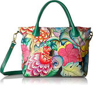 Women's Genuine Leather Large Slouch Tote Bag | Hand Painted Original Artwork | Whimsical Garden