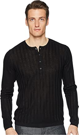 John Varvatos Collection Long Sleeve Rib Henley Y2380U1