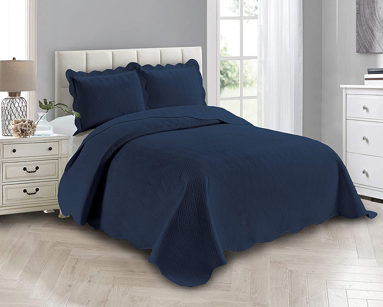 Smart Discount mail order Linen 3 Piece Solid Embossed Bedspread Bedd Quilt Ranking TOP3 Coverlet