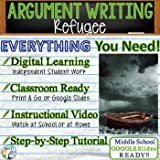 Text Dependent Analysis Argument Writing - Refugee by Alan Gratz Distance Learning, In Class, Independent Instruction, Instructional Video, PPT, Worksheets, Rubric, Graphic Organizer, Google Slides