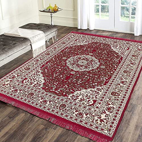 Revive S Presents Royal Look Area Rug Bedroom Hall Living Room Drowing Room Abstract Chenille Carpet 60 Inch X 84 Inch 150 Cm X 210 Cm 5 Feet X 7 Feet Maroon