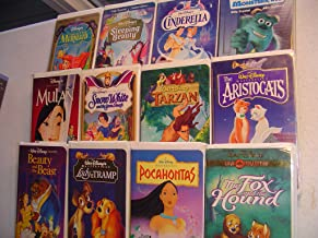 12 Pack VHS Tapes Walt Disney's: Cinderella, Little Mermaid, Monsters Inc., Pocahontas, Tarzan, Mulan, Aristocats, Beauty and the Beast, Sleeping Beauty, Snow White and the Seven Dwarfs. Lady and the Tramp, Fox and the Hound