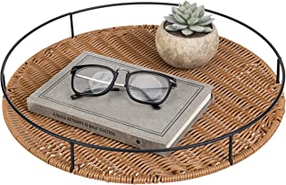 MyGift Round Woven Rattan Tray with Metal Frame