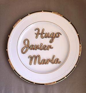 5 Nombres marcasitios de madera. Personalizados. Ideal bodas, comuniones, bautizos, cumpleaños, celebraciones. Producto 10...