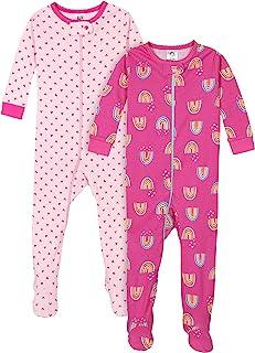Gerber Baby Girls' 2-Pack Footed Pajamas