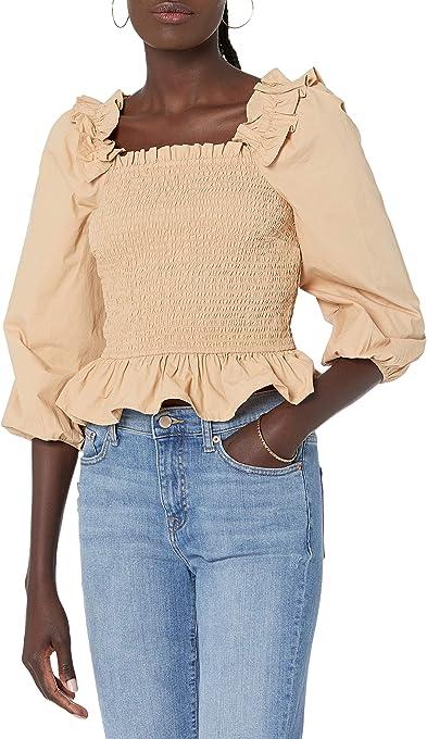 The Drop Women's Marisol Long Sleeve Ruffle Smocked Top