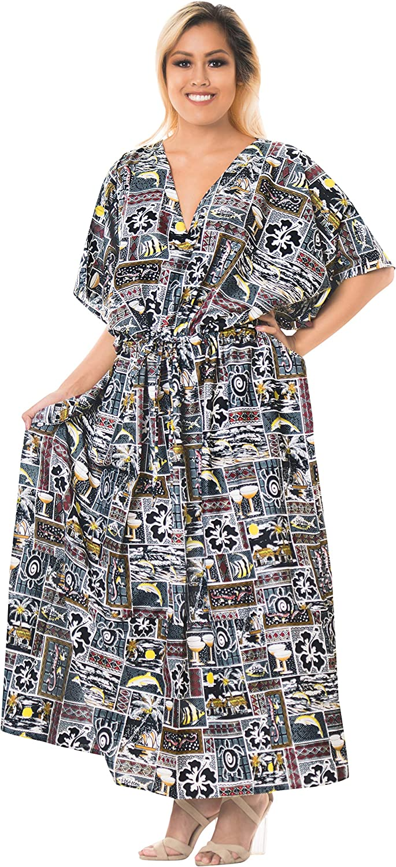 LA LEELA Women's Caftan Poncho Party Evening Dress Beach Cover Ups Drawstring A