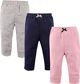 Luvable Friends Baby and Toddler Unisex's Cotton Pants, Lt. Pink/Navy 3-Pack, 6-9 Months (9M)