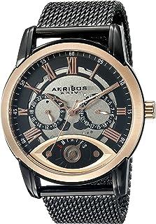 Akribos XXIV Men's Three Hand Retrograde Skeleton Dial Watch - 2 Subdial Complication On a Stainless Steel Bracelet Watch - AK846