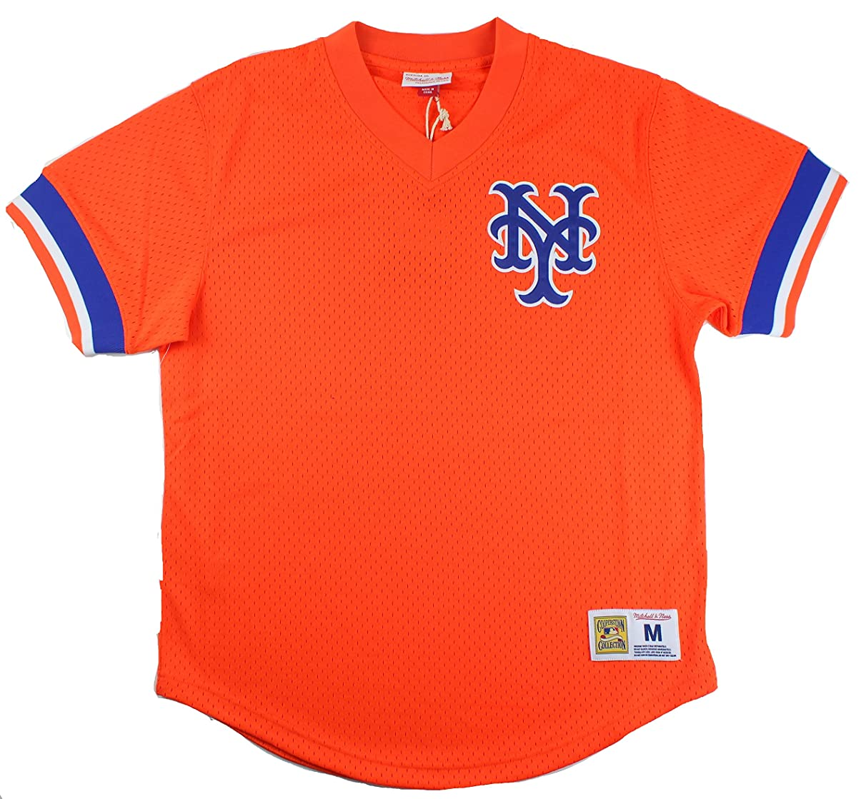 New York Mets Mitchell & Ness Men's Mesh V-Neck Jersey Orange