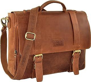 Menzo Stanford Aktentasche aus echten Leder für Damen und Herren, Vintage Umhängetasche, Messenger Bag, Lehrertasche braun