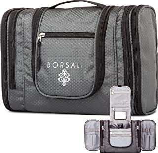 Hanging Travel Toiletry Bag for Women & Men by Borsali - Makeup and Toiletries Organizer- Medium Bag - Compact Yet Roomy -Travel Confidently with Mirror - Large Back Pocket - Easy Access Compartments