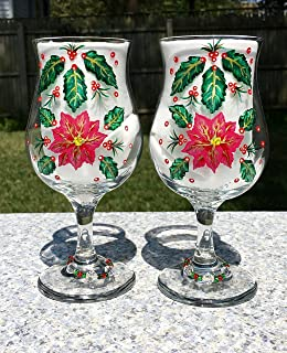 Christmas Glasses With Hand Painted Poinsettias and Holly (Set of 2)