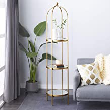Gold Metal Glam Standing Mirror Shelves, 73 x 18 x 18