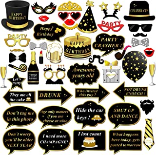 Happy Birthday Party Photo Booth Props with Stick (49Counts) for Her Him Funny Birthday Black and Gold Decorations, Konsait Happy Birthday Party Favors Supplies for kids Adults Men and Women