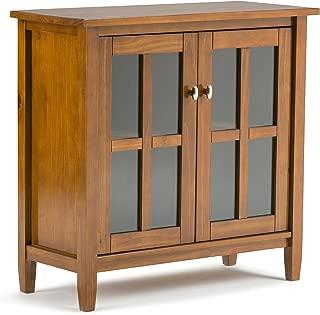 Simpli Home AXWSH009 Warm Shaker Solid Wood 32 inch Wide Rustic Low Storage Cabinet in Honey Brown